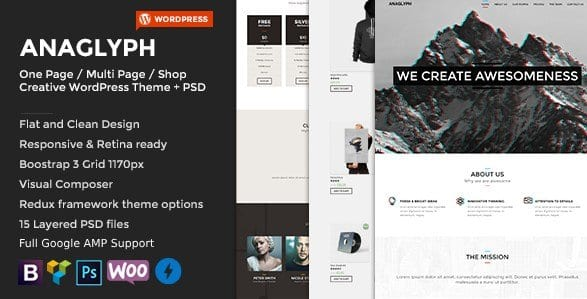 ANAGLYPH – One page Multi Page WordPress Theme