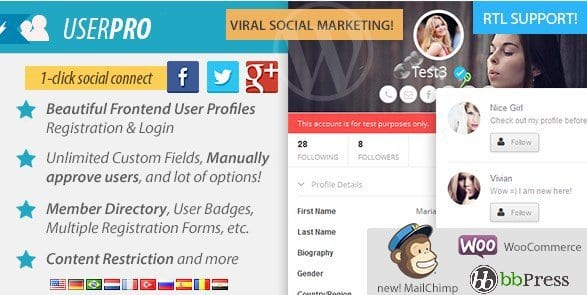 UserPro – User Profiles With Social Login