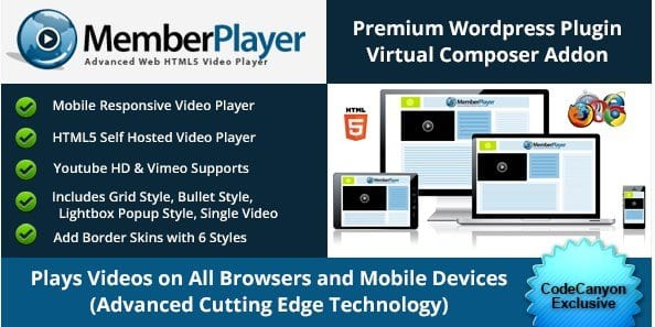 Visual Composer Addon MemberPlayer HTML5 Video