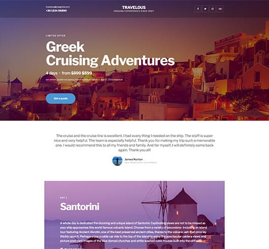 Elementorism Travelous Landing Page